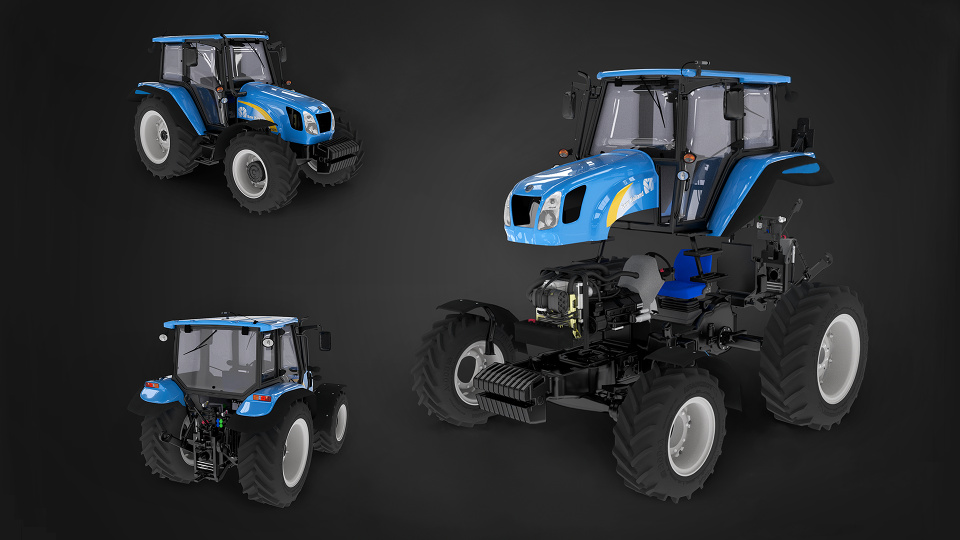 Tractor New Holland T5070 animated 3D visual presentation
